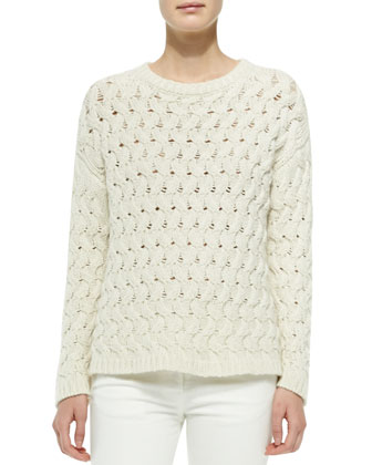 Wavy-Cable-Knit Sweater