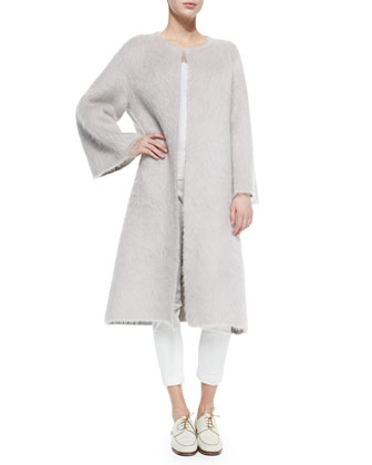 Mohair Robe-Style Long Coat & Stretch-Denim Leggings