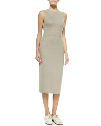 Sleeveless Wool Fitted Dress