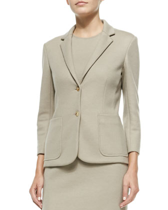 Stretch-Wool Fitted Blazer & Sleeveless Wool Fitted Dress