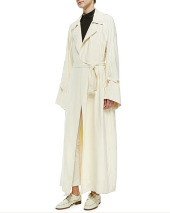Long Bell-Sleeve Opera Coat & Chiffon Tabbed Blouse w/ Camisole