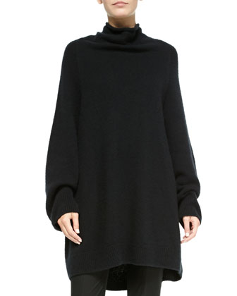 Oversize Cashmere/Silk Turtleneck Sweater & Stretch-Cotton Slit-Cuff Leggings