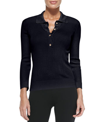 Long-Sleeve Ribbed Polo Sweater, Navy