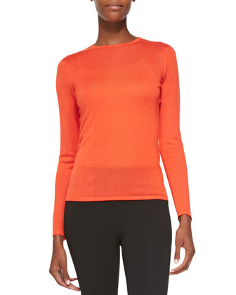 Cashmere-Blend Long-Sleeve Sweater, Mai Tai Orange