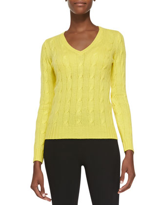Cashmere Cable-Knit Sweater, Lemon Drop