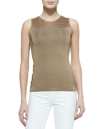 Mesh-Yoked Chain-Knit Tank Top, Dark Sand