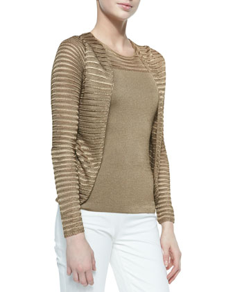 Open Mesh-Knit Cardigan, Dark Sand