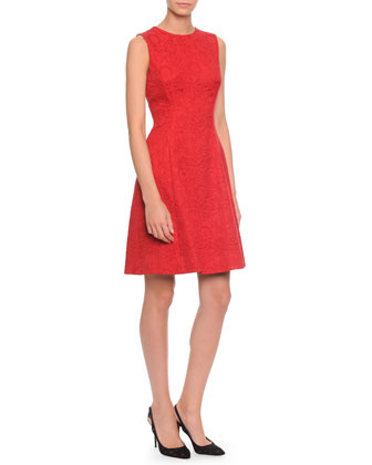 Floral-Jacquard Fit-And-Flare Dress, Red