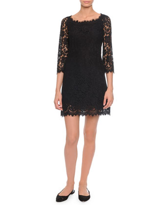 Soft-Square-Neck A-Line Lace Dress, Black
