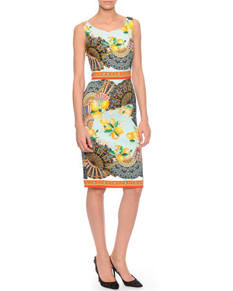 Fan-Print Silk Charmeuse Sheath Dress