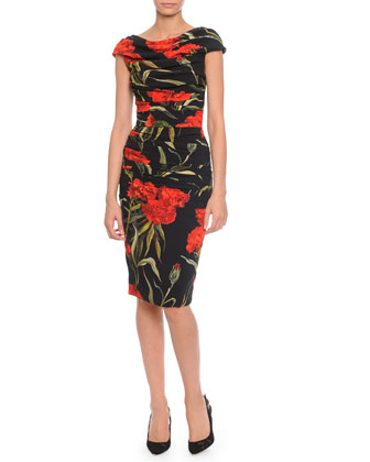 Ruched Cap-Sleeve Boat-Neck Dress, Black/Red