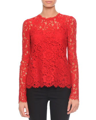 Jewel-Neck Long-Sleeve Lace Top, Red