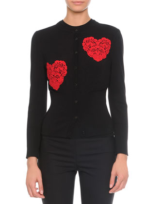 Lace Heart Applique Cardigan