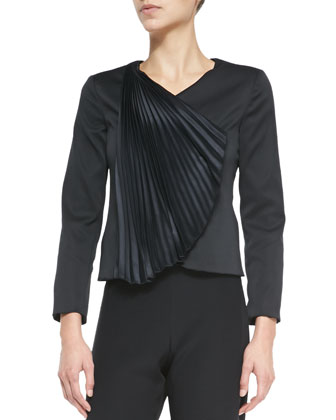 Silk Accordion-Fan Duchesse Jacket & Cady Wide-Leg Side-Zip Pants, Black