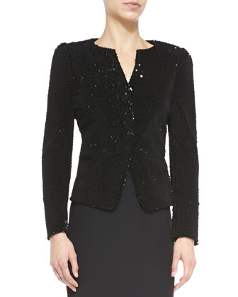 Flocked Paillette Jacket, Black