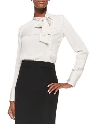 Asymmetric Button-Front Tie-Collar Blouse, Cream