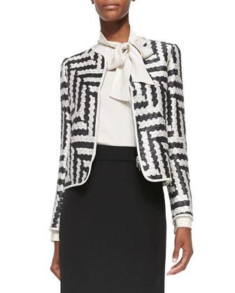 Geometric-Jacquard Double-Zip Jacket, White/Gray
