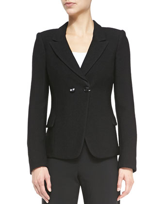Fancy Jacquard Double-Peak Lapel Jacket, Black