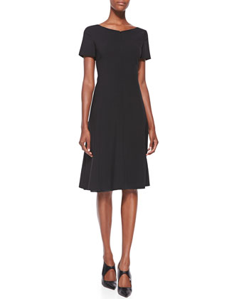 Zip-Front Wool A-Line Dress, Black