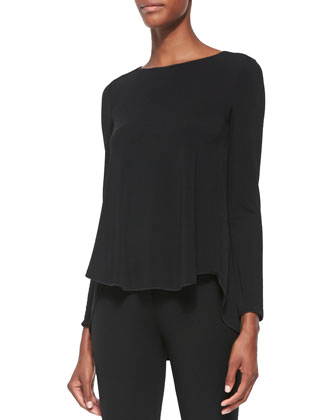 Matte Jersey High-Low Tunic, Black