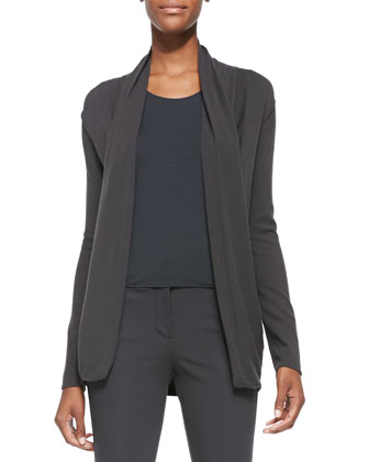 Textured-Knit Draped Cardigan, Slate