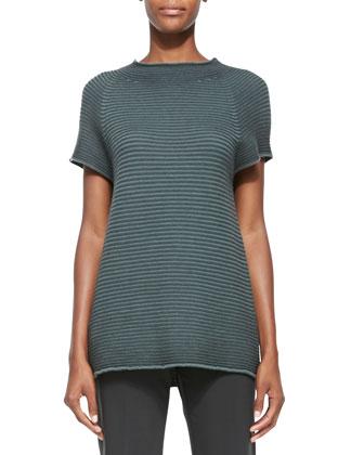Ribbed-Knit Cap-Sleeve Tunic, Slate