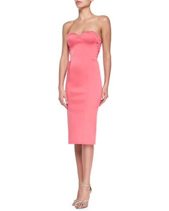 Strapless Sweetheart Fitted Cocktail Dress, Coral