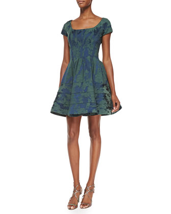 Scoop-Neck Floral-Brocade Party Dress, Eton Blue