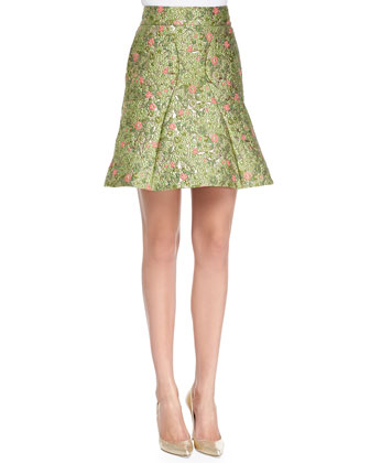 Structured Satin T-Shirt & Floral-Jacquard Fit-and-Flare Skirt