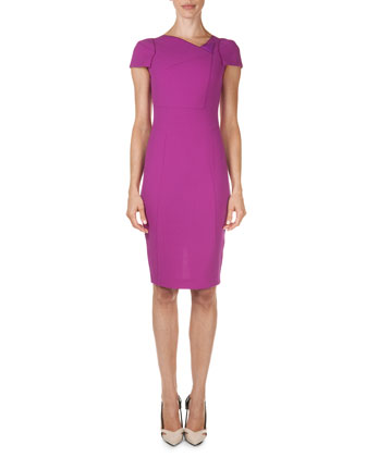 Folded Asymmetric Wool Crepe Sheath Dress