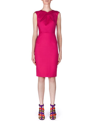Sesia Darted Pique Knit Sheath Dress, Azalea Pink