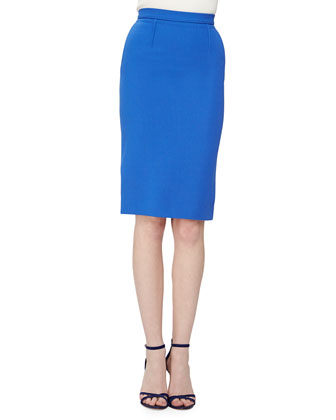 High-Waist Wool Crepe Pencil Skirt, Blue