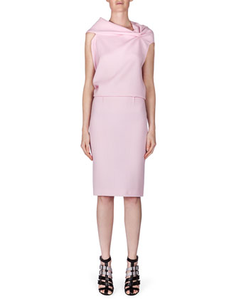 High-Waist Wool Crepe Pencil Skirt, Light Pink