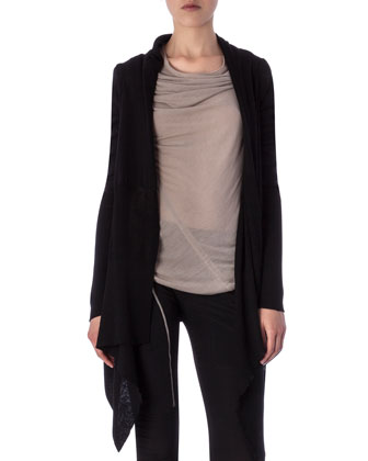 Long-Sleeve Wrapped Long Cardigan, Bonnie Drape-Neck Sleeveless Tee & ...