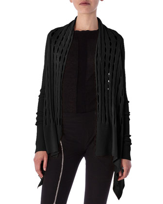 High-Low Cardigan in New Wool Knit, Black