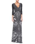 V-Neck Armadillo-Print Gown, Black/White
