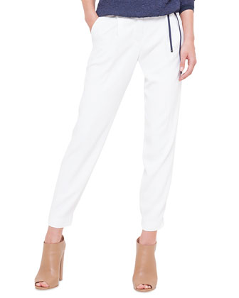 Mimi Tapered Ankle Pants, Cream