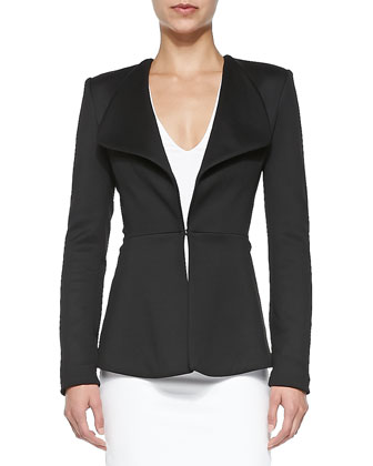 Shawl-Collar Jersey Jacket, Black