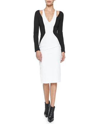 Shawl-Collar Jersey Jacket & Cold-Shoulder Colorblock Jersey Dress