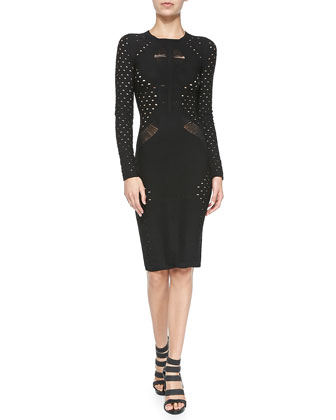 Long-Sleeve Cutout Knit Sheath Dress