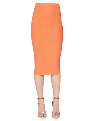 Long-Sleeve Slashed Crop Top & Ottoman Knit Midi Pencil Skirt
