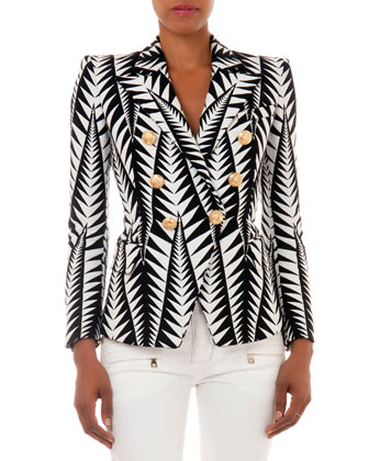 Jagged Leaf-Print Blazer, Black/White