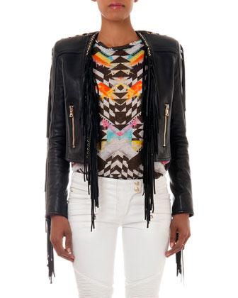 Leather Fringe Jacket, Chevron-Print Linen Sweater & Slim-Fit Moto Jeans