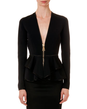 Satin-Trim Ruffle Jacket