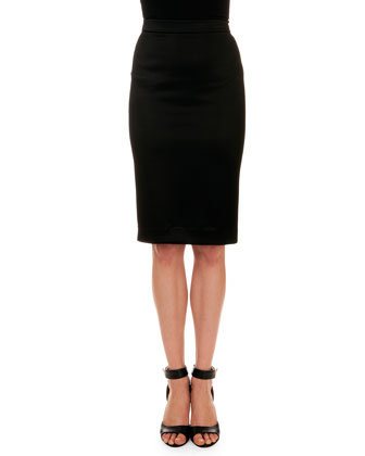 Satin-Trim Ruffle Jacket & Crepe Pencil Skirt