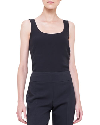 Scoop-Neck Georgette Tank Top, Black
