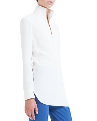 Crepe Zip Polo Tunic, Calcite