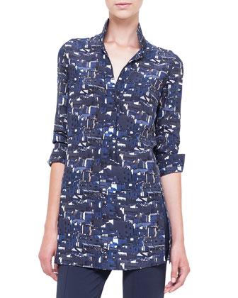 Chefchaouen-Print Polo-Style Tunic, Azurite