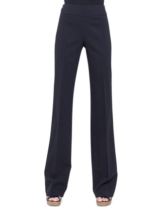 Carla Double-Faced Straight-Leg Pants, Black
