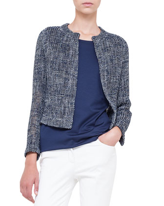 Loose-Woven Short Jacket, Jewel-Neck Double-Layered Top & Magda Flat-Front ...